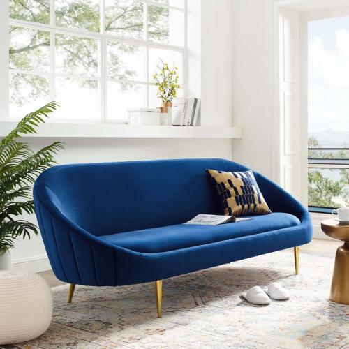 Sublime Vertical Curve Back Performance Velvet Sofa in Navy