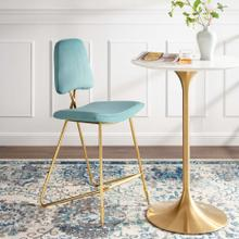 Ponder Performance Velvet Bar Stool in Sea Blue