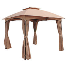 St. Kitts 3-meter Steel Dome-top Gazebo with Curtains - Bronze/Khaki