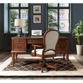Clinton Hill - Round Back Uph Desk Chair - Classic Cherry Finish