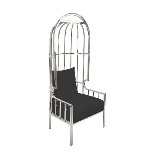 """Metal 72"""" Throne Chair, Black/silver"""
