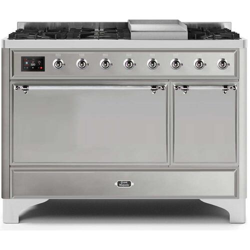 Gallery - Majestic II 48 Inch Dual Fuel Natural Gas Freestanding Range in Stainless Steel with Chrome Trim