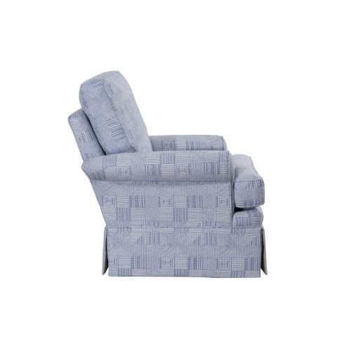 Swivel Glider, Fully Upholstered, Skirted.