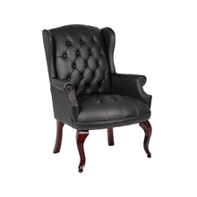 Traditional Wingback Guest Black leather Chair - Black