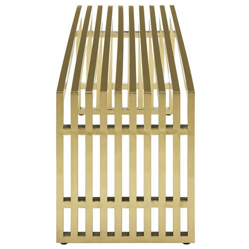 Gridiron Large Stainless Steel Bench in Gold