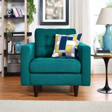 Empress Upholstered Fabric Armchair in Teal