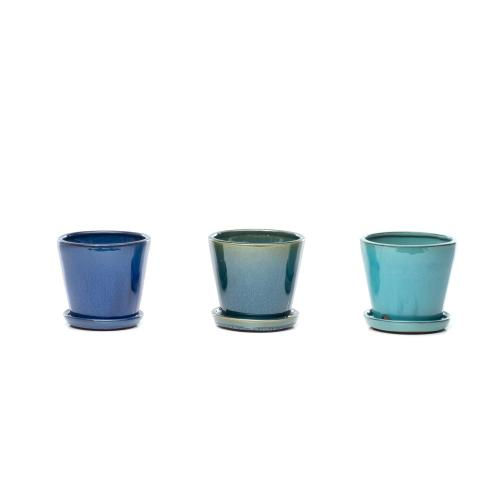 Sasha Planters, Aqua - Set of 4