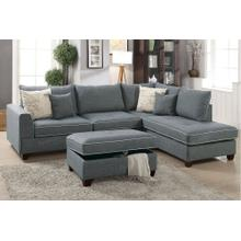 Grey Reversible Chaise Sectional with Storage Ottoman Included