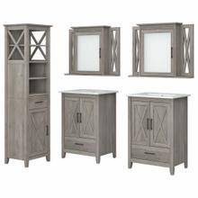 See Details - 48W Double Vanity Set with Sinks, Medicine Cabinets and Linen Tower, Driftwood Gray