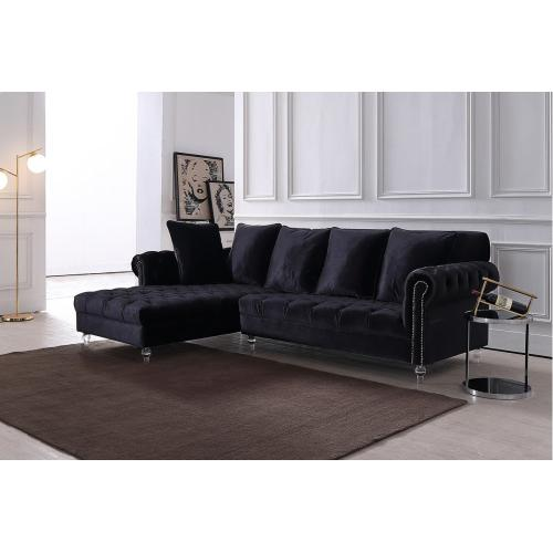 Divani Casa Temple Modern Black Velvet Sectional Sofa