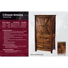 Barnwood 3 Drawer Armoire