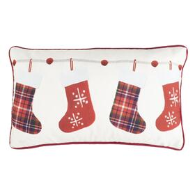 Holly Jolly Pillow - Ivory / Red