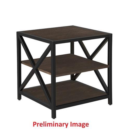 Dark Brown Metal Framed Three Shelf End Table