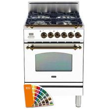 Nostalgie 24 Inch Gas Liquid Propane Freestanding Range in Custom RAL Color with Bronze Trim