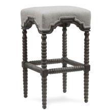 INWOOD BAR STOOL  Waldo Beach Tweed Fabric on Weathered Gray Finish Hardwood Frame