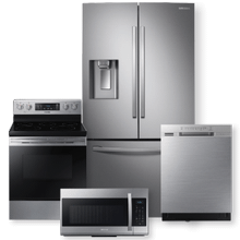 SAMSUNG 28 cu. ft. French Door Refrigerator w/ Twin Cooling Plus & 5.9 cu.ft. Freestanding Electric Range Package- Open Box