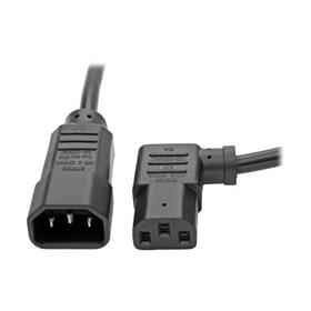 Power Extension Cord, Left Angle C13 to C14 PDU Style - 10A, 250V, 18 AWG, 2 ft., Black