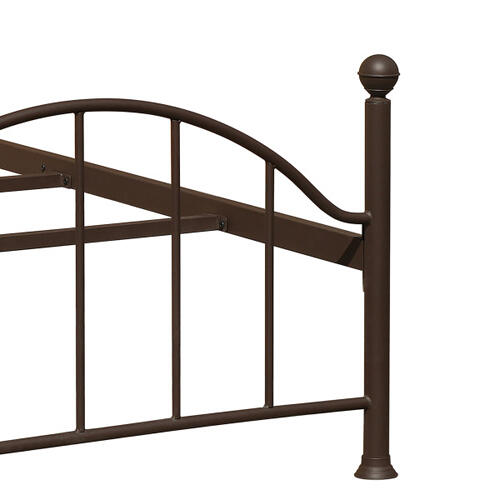 Scroll Metal Twin Bed in Brown, All-In-One