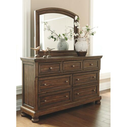 King Panel Bed With 2 Storage Drawers With Mirrored Dresser and Chest
