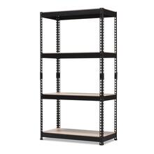 See Details - Baxton Studio Cody Black Metal 4-Shelf Multipurpose Shelving Rack
