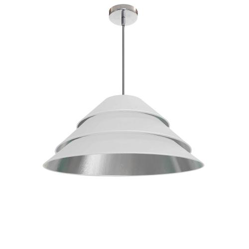 1lt Aranza Pendant White/silver Shade, Polished Ch