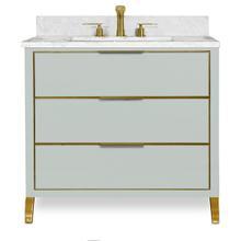 View Product - Ocean Grey Satin Brass MUSE Metal Trim 36-in Single-Basin Vanity with Carrara Stone Top