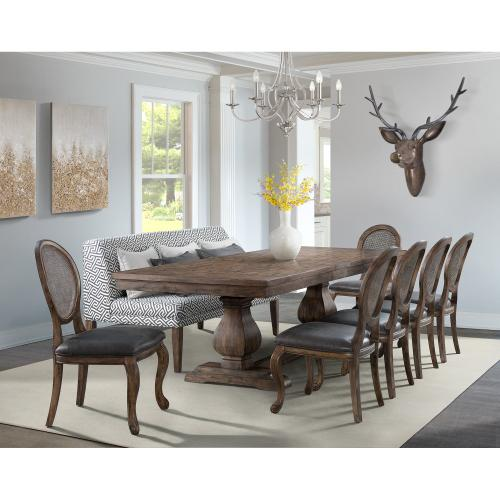 Gramercy Dining Set - Table, Dining Sofa, and 6 Rectangle Back Chairs