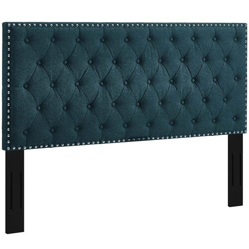Helena Tufted King and California King Upholstered Linen Fabric Headboard in Azure