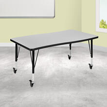 "Mobile 28""W x 47.5""L Rectangular Wave Collaborative Grey Thermal Laminate Activity Table - Height Adjustable Short Legs"