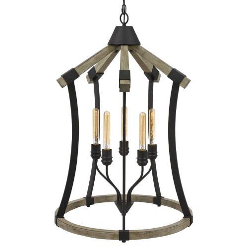 Dali 60W X 5 Metal/Pine Wood Chandelier (Edison Bulbs Not included)