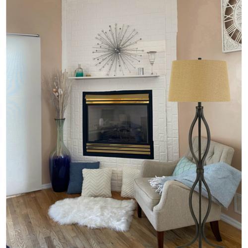 150W 3 Way Tivoli Iron Floor Lamp With Burlap Shade
