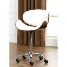 Soglio Modern Faux Leather and Wood Height Adjustable Swivel Office Chair, White