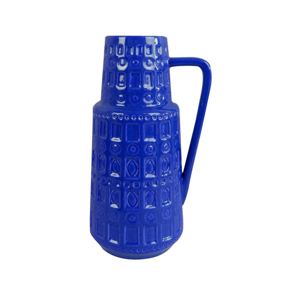 See Details - Blue Ceramic Pitcher Vase