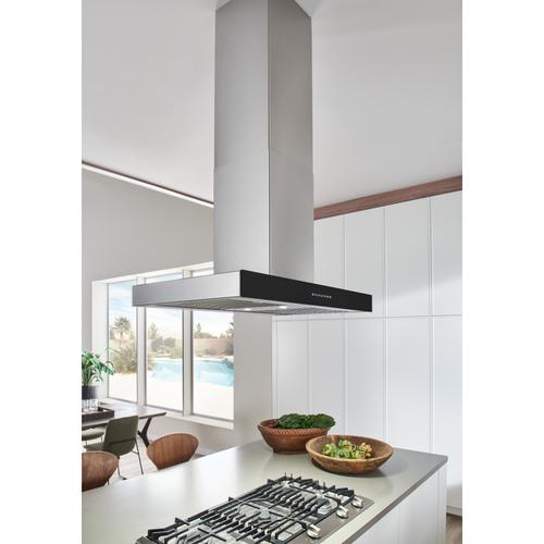 BEST Range Hoods - 36-inch 650 Max Blower CFM Stainless Steel Island Range Hood with PURLED™ Light System and Black Glass (ICB3 Series)