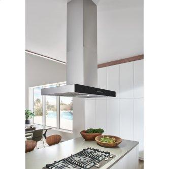 36-inch 650 Max Blower CFM Stainless Steel Island Range Hood with PURLED™ Light System and Black Glass (ICB3 Series)