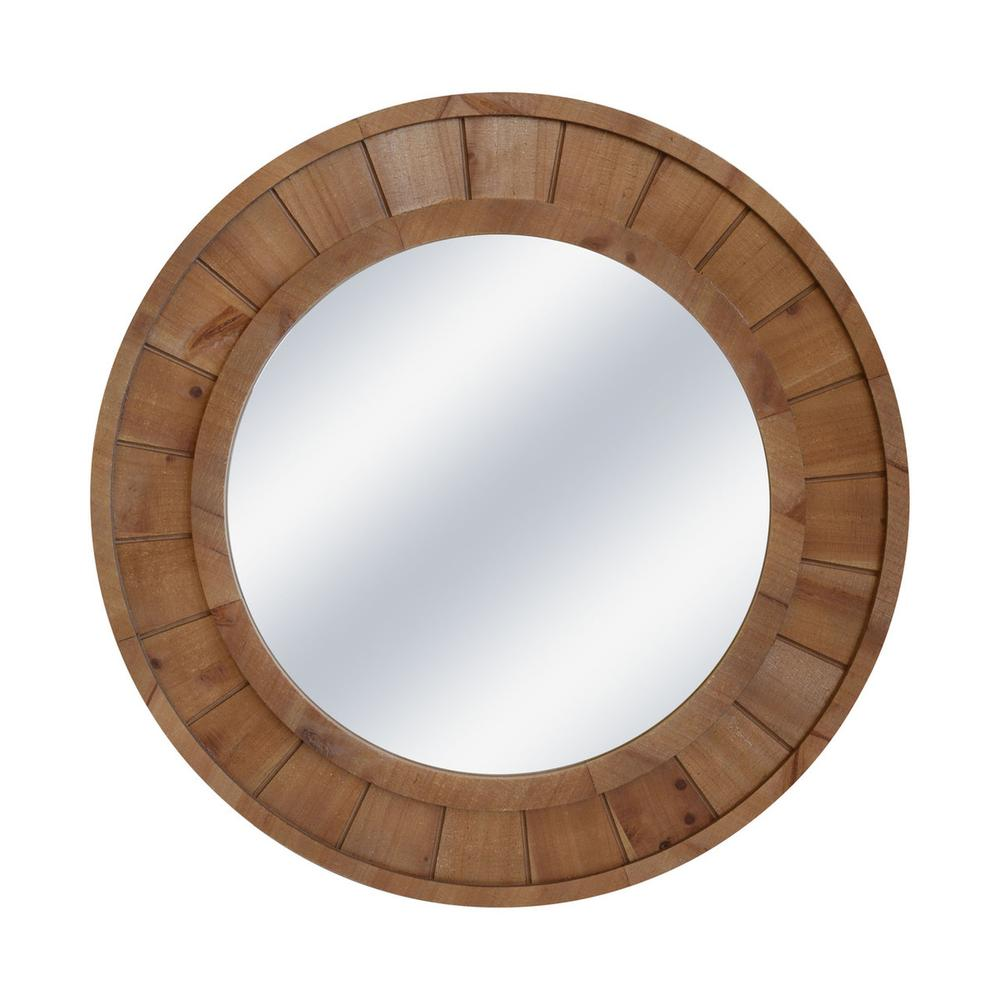 """See Details - Wood Frame 28"""" Wall Mirror, Brown Wb"""