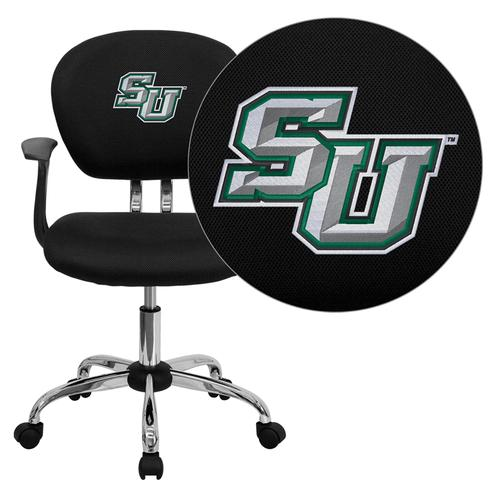 Stetson University Hatters Embroidered Black Mesh Task Chair with Arms and Chrome Base