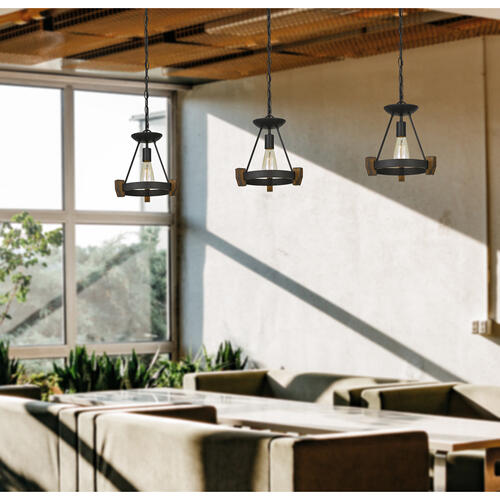 Cal Lighting & Accessories - 60W Cruz Metal/Wood Pendant (Edison Bulb Not included)