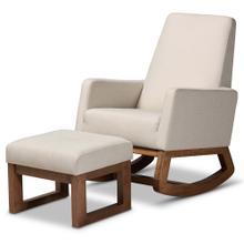 See Details - Baxton Studio Yashiya Mid-century Retro Modern Light Beige Fabric Upholstered Rocking Chair and Ottoman Set