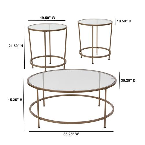 Flash Furniture - Astoria Collection 3 Piece Coffee and End Table Set with Glass Tops and Matte Gold Frames