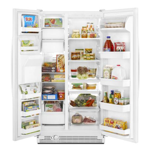 Whirlpool 25 cu. ft. Side-by-Side Refrigerator with Clear Temperature-Controlled Meat Pan.  (This is a Stock Photo, actual unit (s) appearance may contain cosmetic blemishes. Please call store if you would like actual pictures). This unit carries our 6 month warranty, MANUFACTURER WARRANTY and REBATE NOT VALID with this item. ISI 39549