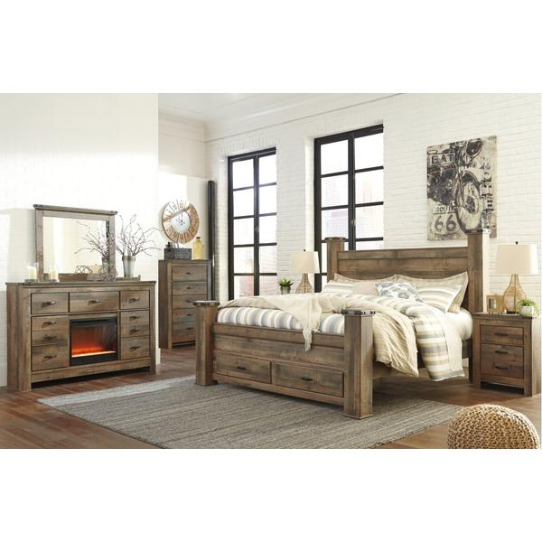 Trinell King Poster Bed With 2 Storage Drawers
