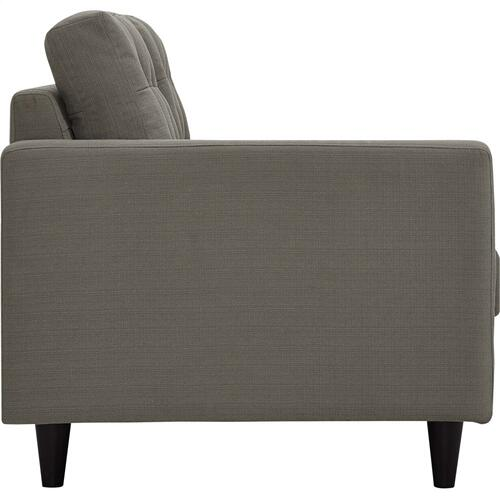 Empress Left-Facing Upholstered Fabric Loveseat in Granite