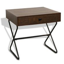 HOURGLASS END TABLE  24in X 24in  Industrial 1 Drawer End Table with Black Metal Legs
