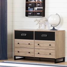 Industrial 6-Drawer Double Dresser Storage Unit - Rustic Oak and Matte Black