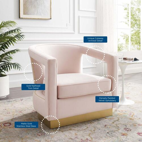 Modway - Frolick Performance Velvet Armchair in Pink