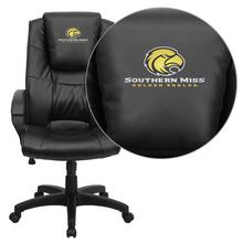 Southern Mississippi Golden Eagles Embroidered Black Leather Executive Office Chair