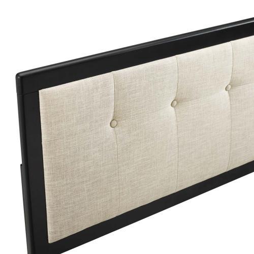 Draper Tufted Queen Fabric and Wood Headboard in Black Beige