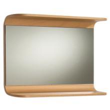 Aeri rectangular wall mount mirror with integral wood shelf.