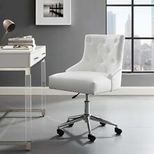 Regent Tufted Button Swivel Faux Leather Office Chair in White